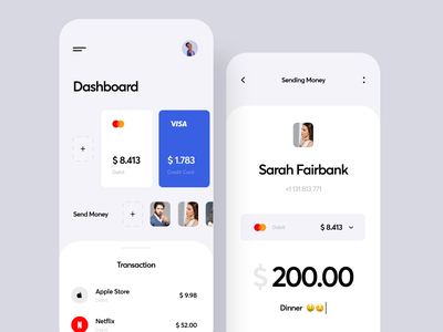 Mobile Banking App ios 2020 business card card inspiration credit card ux ui finance bank app dashboard bank transaction cost budget finance app transfer app sending money banking app mobile app