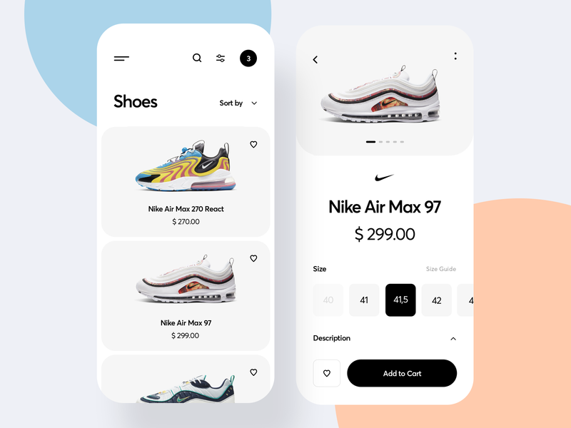 Shoes App application product add to cart fashion app ui design clean inspiration mobile app store app online shop ecommerce nike shoes shop shoes app air max nike app sneakers ux ui app