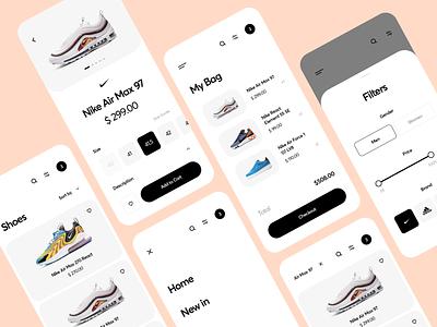 Shoes App Design mobile app clean air max ui design product online shop nike ecommerce ios mobile shoes app clothing fashion interface trend store ux ui cart app