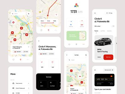 Circle K Mobile App Redesign design mobile app clean minimalist station app gas app gps payments travel card map share car car rent gas station circkle k mobile app ux ui