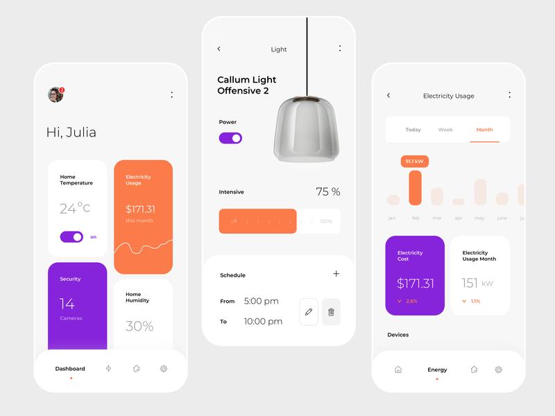 Smart Home App app design white digital design smart temperature house lamp interior dashboard cost schedule clean light electcrity usage smart home app ux ui