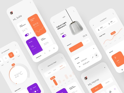 Smart Home App - Homely air coinditioner room my home smart home smart schedule light lamp interior house electricty usage digital design dashboard cost clean app design app ux ui