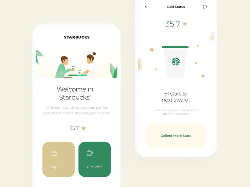 Starbucks Redesign Mobile App sketch app order food coffee app drinks coffee redesign minimal page our cafes pay collect award stars interaction ux ui starbucks mobile clean app
