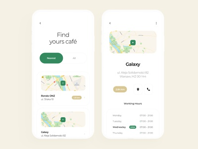 Starbucks Redesign - Café Finder app design page clean map location stars awards collect minimalist redesign drinks coffee starbucks pay interaction find cafe mobile ux ui app