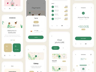Starbucks Redesign - UI / UX Mobile App redesign our cafes clean design sketch app starbucks stars coffee coffee app collect mobile drinks payment find pay ux ui map award app
