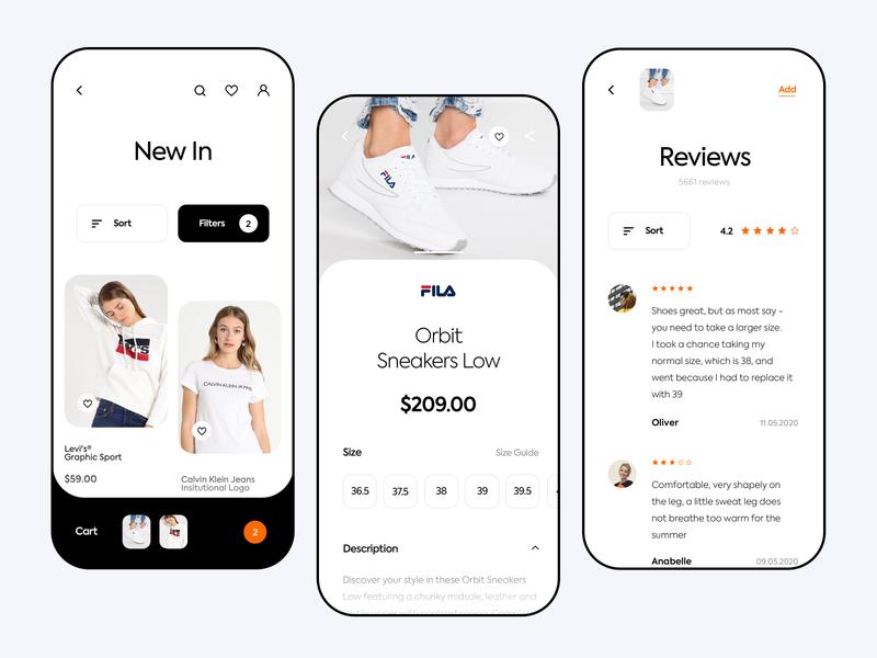 Zalando App Redesign interface fila nike calvin klein reviews product inspiration fashion app ecommerce app sneakers shop zalando shoes app nike app clean design ux ui mobile app
