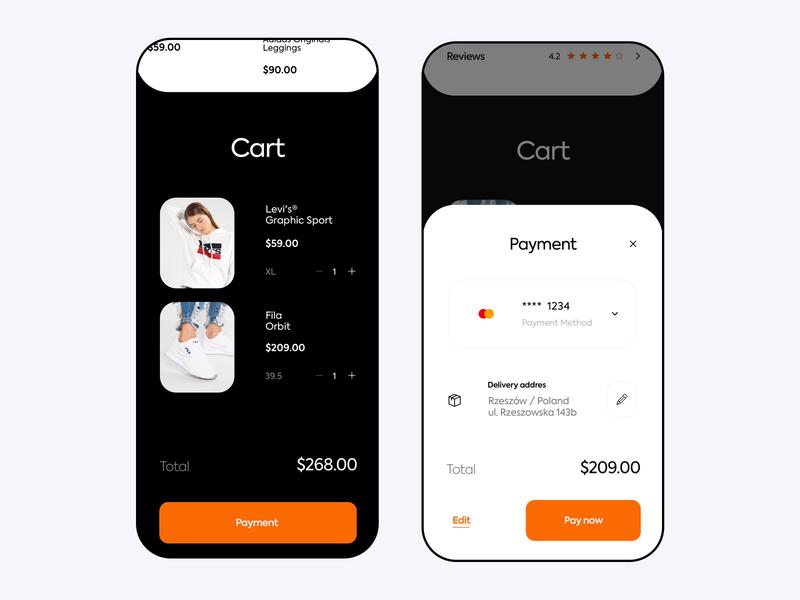 Zalando Redesign - Cart Payment 2020 payment app shoes app clothing shoes ecommerce address delivery visa fila levis zalando payment cart mobile clean design app ux ui
