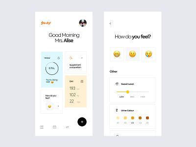 Sundose - Supplements App ui  ux happy white app mobile app clean design app design interface supplement label feel bmi water tracker fit app sundose mobile ui design ux ui