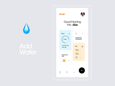 Sundose - Water tracker calorie feel graphics food happy fit diet fitness interface app design clean design app mobile ux ui pills coffe water sundose