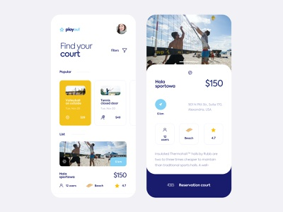 Playout - Court Booking App tennis volleyball interface clean mobile ui design filters list rating location reservation court find sports booking court app ux ui