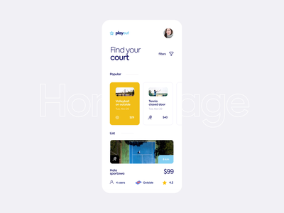 Playout - Booking Court App Animation clean design price type game find tennis volleyball location beach users list filters court book booking mobile app ux ui