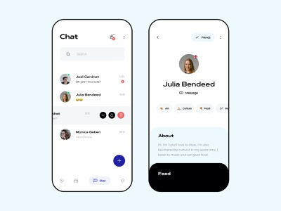 kChat - Social App culture art food video call chat app messenger messages mobile ux design ui clean minimalist app ios app discover feed abot message chat