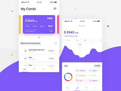 Banking app design concept #1 app design ux ui intervi patryk polak finance bank app mobile ecommerce charts card bank