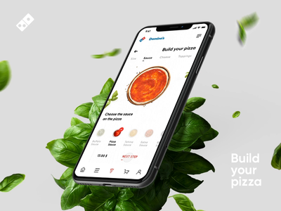 Domino's Pizza App Concept - Build your own pizza dominos pizza intervi branding comment ios pizza mobile video animation food app food ordering design ux ui app create owner creator pizza build pizza pizza app