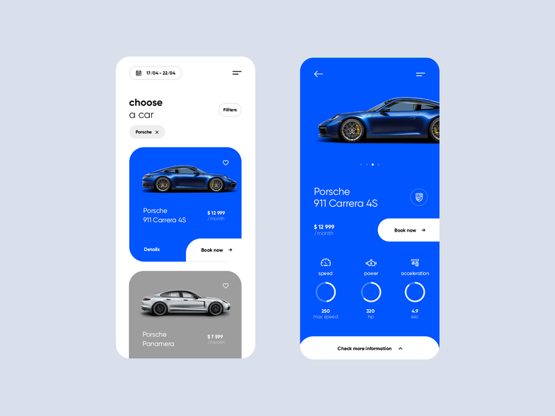 Car Rental - app concept carrera porsche car details choose car design mobile ux ui patrykpolak iceo app design car booking rent car car rental car  auto app car app booking car car rent