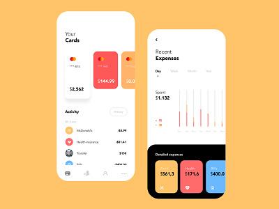 Finance & Banking App spendings interface financing bank account balance bank cards management app statistic payment design system bank app ux ui clean mobile card finance banking app app bank