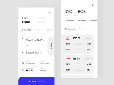 Flight Booking App app design minial typography price ux ui mobile app travel find flights depart return light inspiration flight booking app hotel flight booking flight app design booking app app