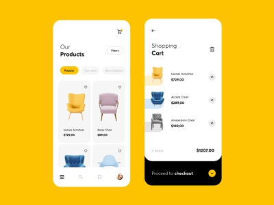 Furniture mobile app ux ui shop mobile furniture shop typography interface 2019 app creative checkout chairs ecommerce add to cart shopping cart payment products light store furniture app
