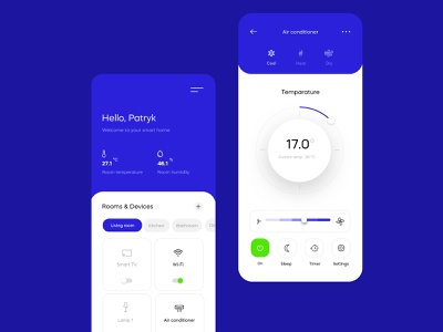 Smart Home App smart home ux ui android dark ui ui design ios detail app design app concept temperature smart home flat design clean smart tv wifi air conditioner home app