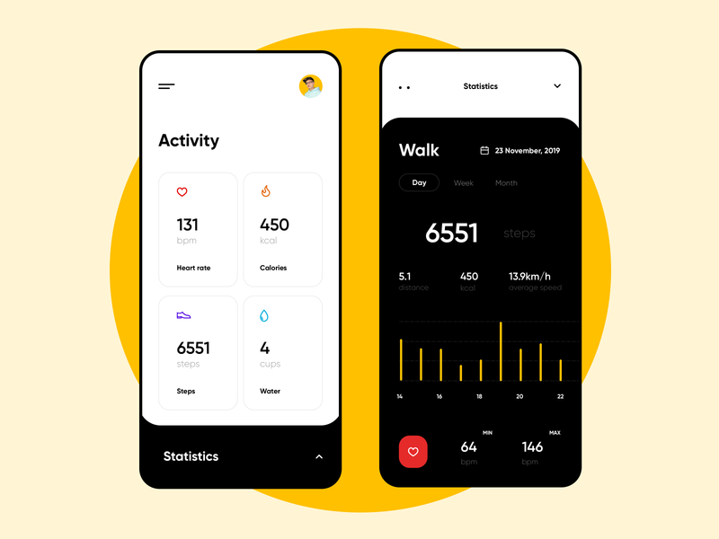 Fitness Activity Tracker walking steps tracking running fit calories product design app design activity dashboard white and black clean sport interface ux ui design actvity app statictics workout fitness app
