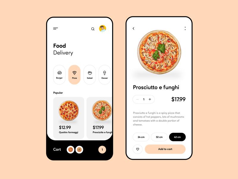 Food Delivery App lunch order restaurant mobile ui mobile design food ordering shop food app clean concept cart pizza app ux ui design delivery food pizza app