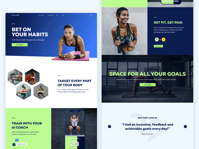 System2 Landing mobile design digital design sports ux ui graphic design branding slogo s2 system2 web design workout fitness website website landingpage landing