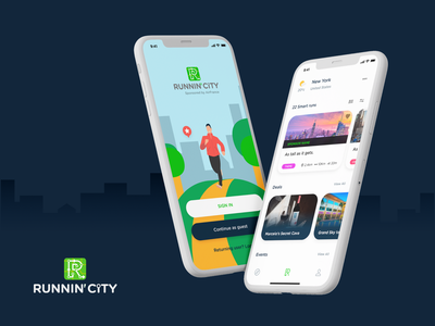 Runnin'City art direction illustration trendy android design ios design 2020 trends apple design ux ui design run running running illustration running man ux ui running app