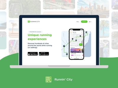 Runnin'City branding ux ui landing page design world travel travel blog travel app sport app webdesign web landing page
