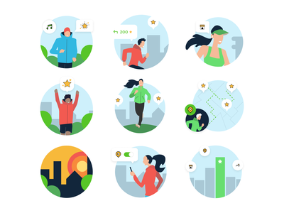 Runnin'City app sports illustration branding digital design graphic design runner running world travel travel illustrations running illustrations illustration art vector art illustrations