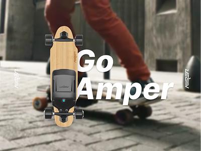 Amper Skateboard electric skateboard ampersand sport design skate design skate skating skateboards skateboarding skateboard logo illustration graphic design digital design sports branding