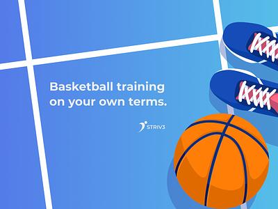 Striv3 sports tech mobile ui basketball ui logo design branding illustration mobile design ux ui graphic design digital design sports