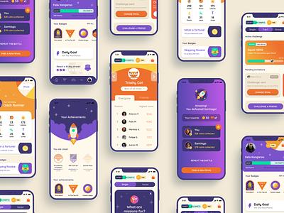 Moovya fittech game badges gamification move fitness ui logo design ux ui illustration mobile design graphic design digital design sports branding