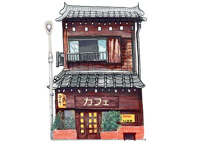 Japan House house illustration applepencil ipad procreate watercolour house zen japan