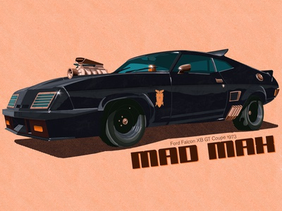Mad Max Ford Falcon XB GT Coupe 1973 digital app design madmax procreate ipadpro applepencil car poster art poster postapo