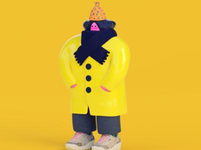 """""""Raincoat"""" - morning warmup houdini zbrush redshift animation maya render illustration 3d"""