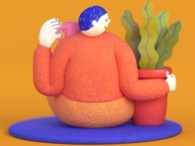 """Affection"" -morning warmu retro mograph maya zbrush houdini redshift render character illustration 3d"