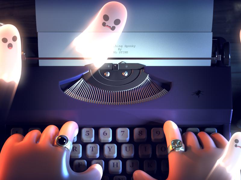 R.L. Stine Illustration halloween bash cobwebs ghosts halloween maya redshift render cg 3d