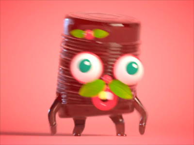 Canned Cranberry Sauce 🍒 substance cute redshift gif character zbrush vray cg maya render illustration 3d