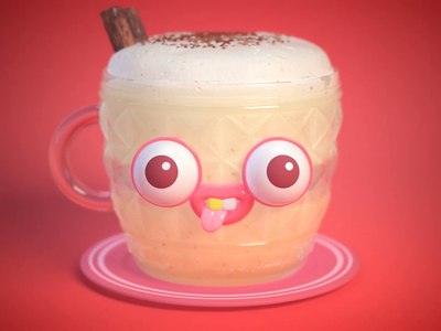Egg Nog🥚🥃 cute holiday character animation redshift zbrush cg maya render illustration 3d
