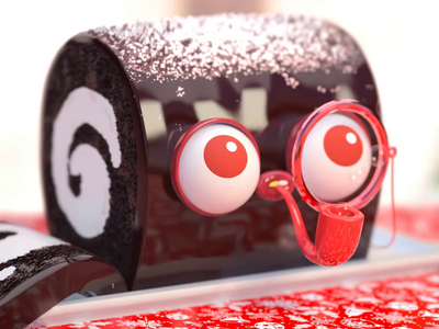 Classy Bûche de Noël w Monocle and Bubble Pipe  🌲🍰❄️ art substance redshift advertising gif editorial animation character zbrush vray cg maya render illustration 3d