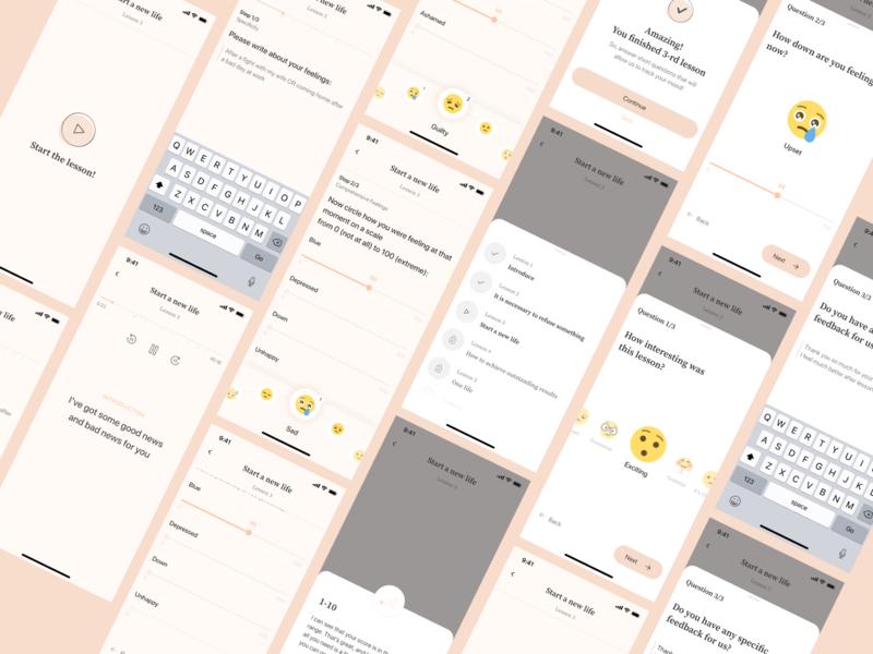 UI/UX iOS quiz app design motivation question psychology emotion audiobook book audio app player quiz uiux