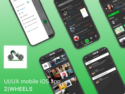 Ui/UX mobile app iOS ux research game dark theme dark app green bikers ios app mobile app branding logo mock up photoshop figma design ux ui