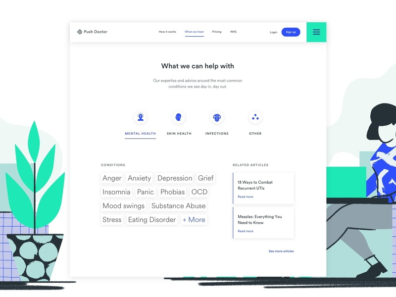 What We Treat illustration interaction animation minimal typography design app web ux ui user research branding ui ux startup product design healthcare