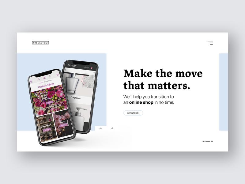E-Commerce Online Shop ecommerce agency portfolio product shop news blog landing page typography mockup mobile slider homepage ui ux web design desktop carousel branding