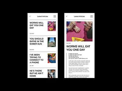 Latest Articles editorial black mobile layout blog navigation branding news ux ui design