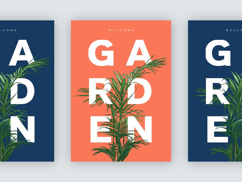 Garden static art poster clean ux ui typography minimal graphic  design design branding