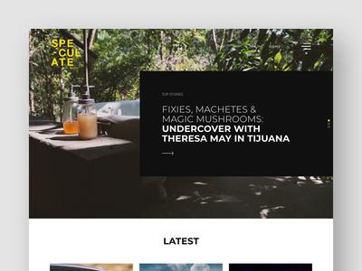 Speculate News homepage modern newsletter grid slider clean black  white minimal blog article news landing page web ui ux branding design graphic  design