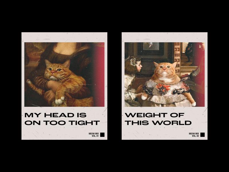 Meow Mixtape grunge millenial polaroid animal graphic print poster gallery art black  white minimal typography design graphic  design branding