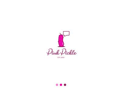 Pink Pickle logo pink mascot cartoon kids funny logo design logos branding vector logo