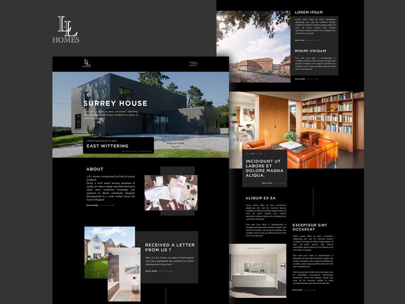 L&L Homes Website mockup wordpress theme simple exclusive development real estate building black and white website web design